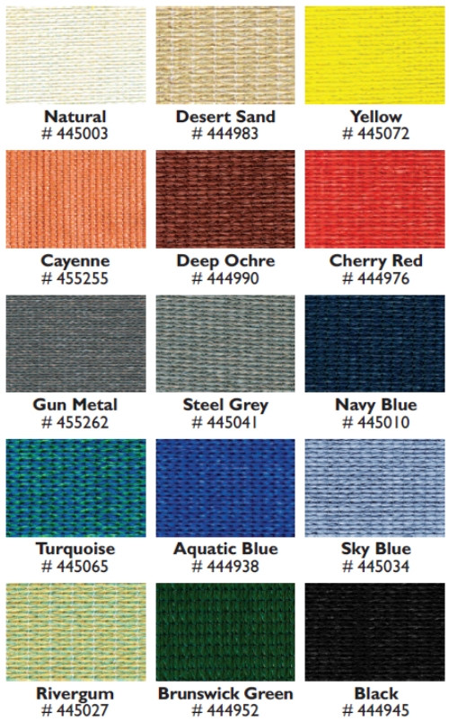Able Canopies' Shade Sail Colour Options