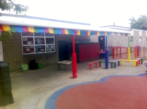 The Coniston Wall Mounted Canopy with The Rainbow Package Installed at St Katherine's School in Canvey Island, Essex