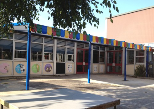 The Coniston Wall Mounted Canopy with The Rainbow Package Installed at Templars Primary & Nursery School in Essex