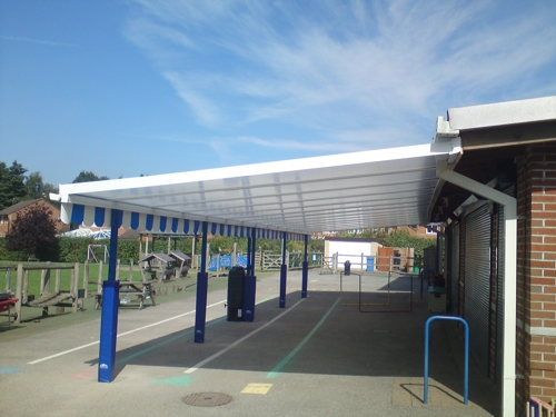 The Coniston Wall Mounted Canopy with The Rainbow Package Installed at The Brook School in Crawley, West Sussex