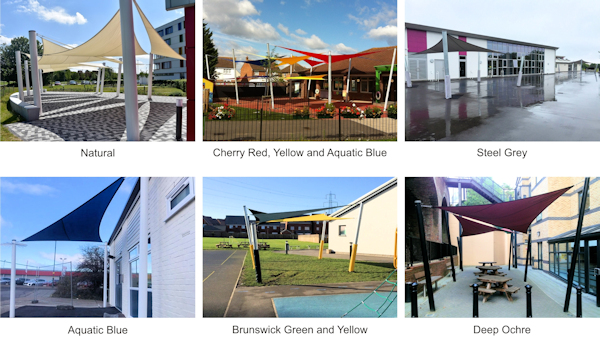 Shade Sail Colour Examples - Able Canopies Ltd.