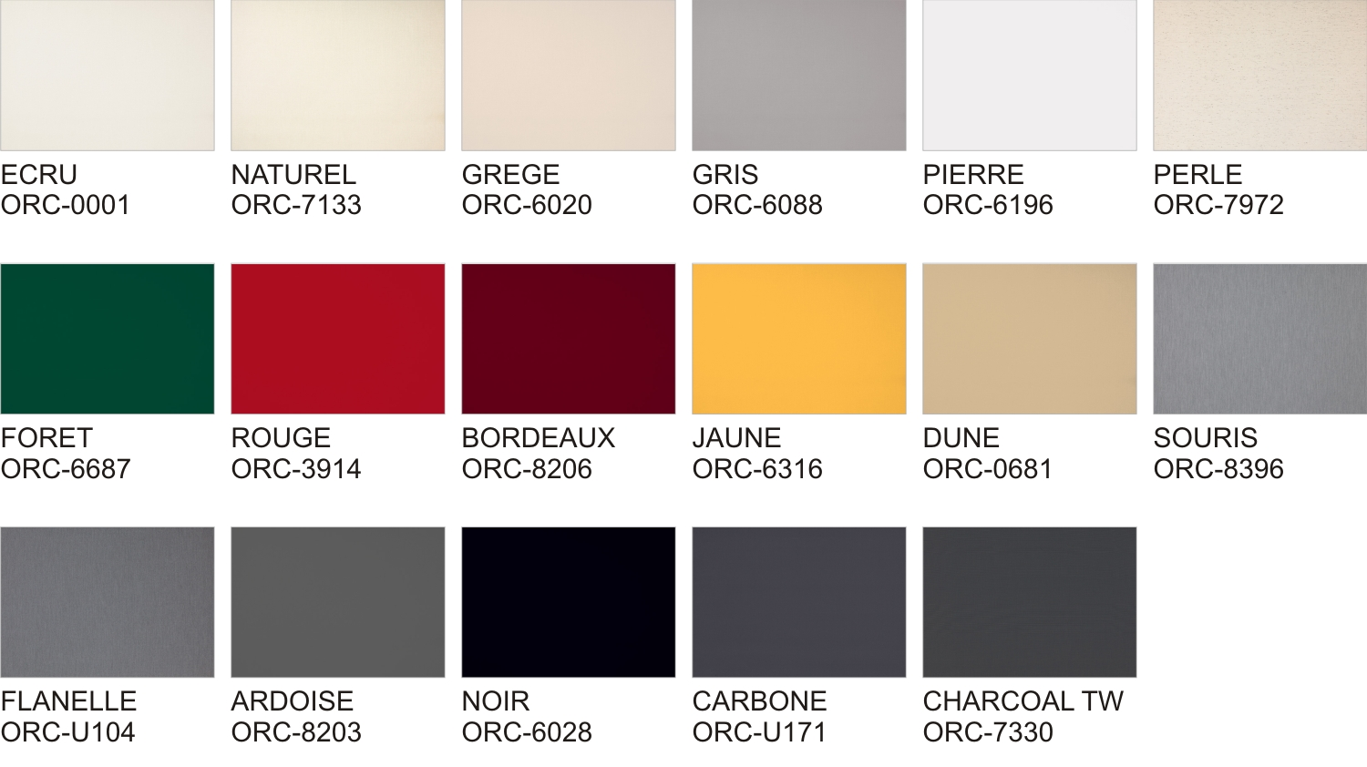 Awning Fabric Colour Options
