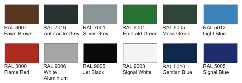 Able Canopies Standard RAL colours