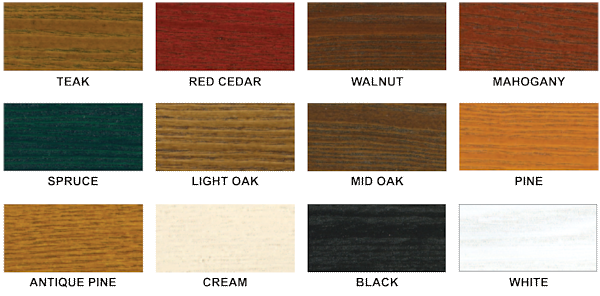 Timber Canopies Stain Colour Options - Able Canopies Ltd.