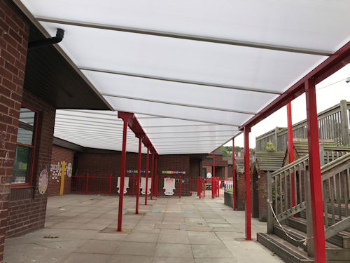Dallow Primary School Wall Mounted Canopy Able Canopies Ltd