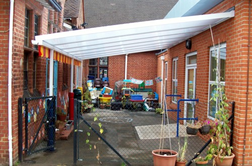 West Byfleet Infant School - Wall Mounted Canopy & West Byfleet Infant School Surrey - Wall Mounted Canopy - Able ...