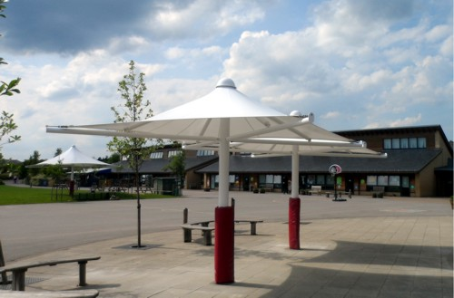 Great Dunmow Primary School Umbrella Canopy 2nd Installation on parking pad with storage
