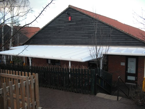 Combs Ford Primary School Wall Mounted Canopy Able Canopies