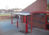 Ysgol Plas Coch County Primary School - Wall Mounted Canopy - Second Install