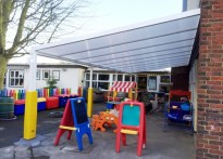 Pinkwell Primary School - 2nd Wall Mounted Canopy Installation