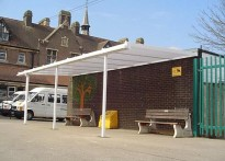 Ashton C of E Middle School - Wall mounted canopy