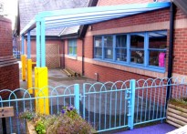 Rhosddu Primary School - Wall Mounted Canopy