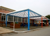 Sandown Bay Academy - Wall Mounted and Free Standing Canopies