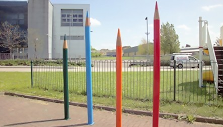 Giant Coloured Pencil Barriers